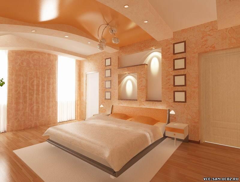 Спальня персикового цвета фото